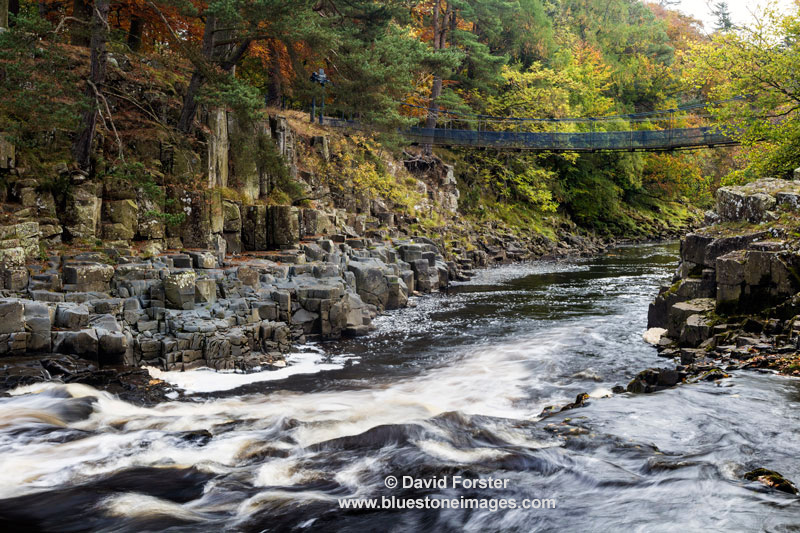 02M-9169 Wynch Bridge and the River Tees in Autumn Upper Teesdale County Durham England UK