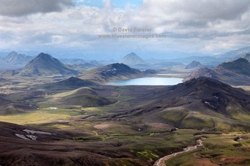 The Lake of Alftavatn Viewed From Jokultungur on the Laugavegur Hiking Trail Fjallabak Area of Iceland
