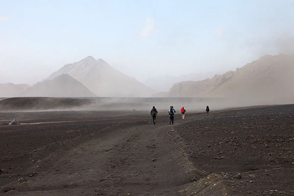03D-5445 Hikers and Volcanic Dust Storm in the Emstrur Area on Day 3 of the Laugavegur Hiking Trail from Landmannalaugar to Thorsmork Iceland