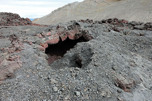 03D-5876 Collapsed Lava Tube at the Initial Eruption Site of the Volcano Eyjafjallajokull Iceland
