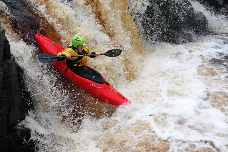 03D-6157 Canoeists on the River Tees at Low Force Upper Teesdale County Durham