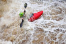 03D-6160 Canoeists on the River Tees at Low Force Waterfall Upper Teesdale County Durham.