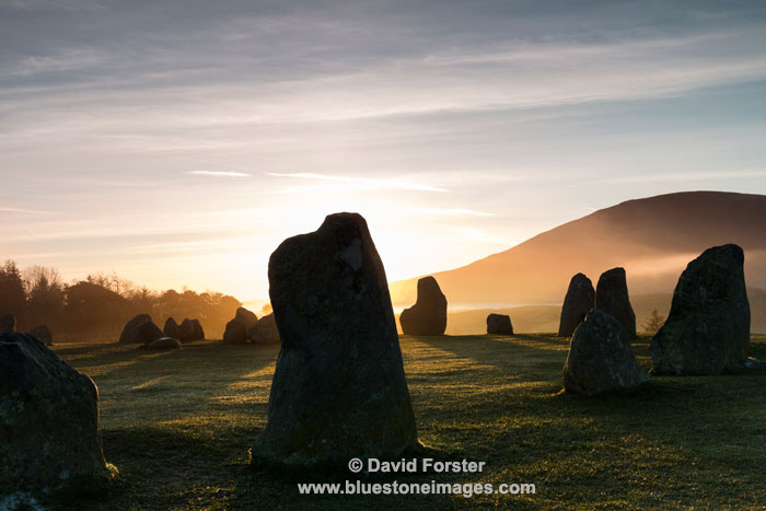 03M-2841 Sunrise Striking the Standing Stones at the Castlerigg Stone Circle Lake District Cumbria UK