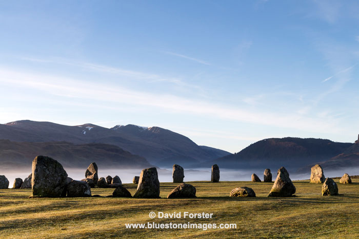 03M-2898 Early Morning Light Striking the Standing Stones at the Castlerigg Stone Circle Lake District Cumbria UK