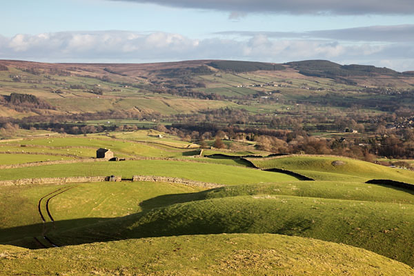 04D-1715 The View from the Ancient Hilltop Tumulus of Kirkcarrion North East Across the Farmland of the Tees Valley Towards Stobgreen Plantation Teesdale County Durham UK
