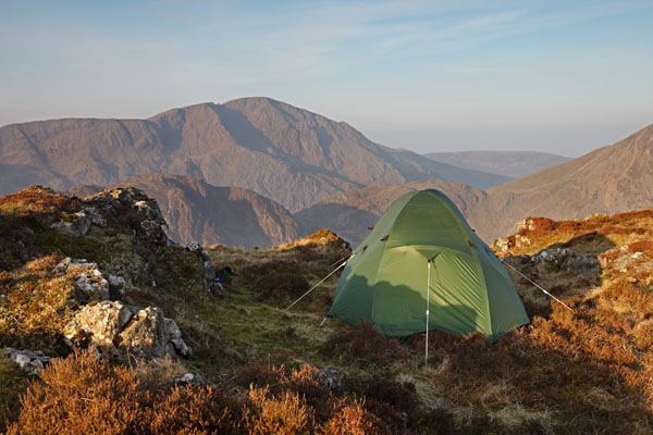 04D-5187 Tent on Fleetwith Pike and the View Towards the Mountain of Pillar in Early Morning Light Lake District Cumbria UK