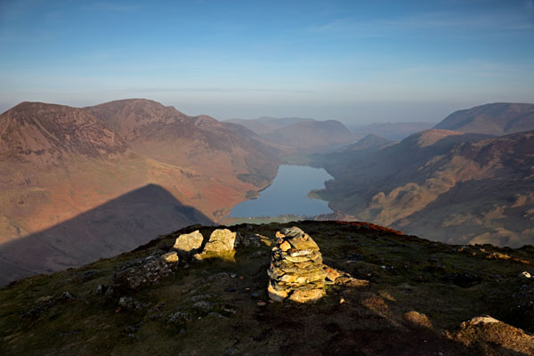 04D-5198 The Buttermere Valley From the Summit of Fleetwith Pike in Early Morning Light Lake District Cumbria UK