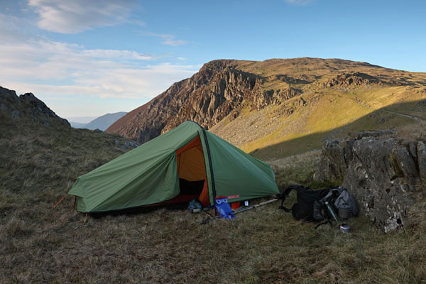 04D-7844 Lightweight Backpacking Tent on the Lower Slopes of Dale Head with the Mountain & Bluestone Images - Photography by David Forster: 04D-7844 ...