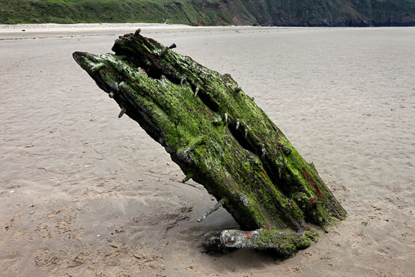 04D-9283 The Remains of the Norwegian Ship The Helvetia Which was Wrecked on Rhossili Beach in 1887 Gower Wales UK