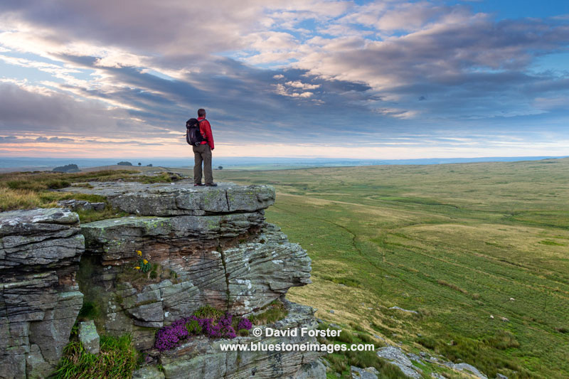 04M-7251 Walker Enjoying the View from Goldsborough Crag, Teesdale, County Durham, UK