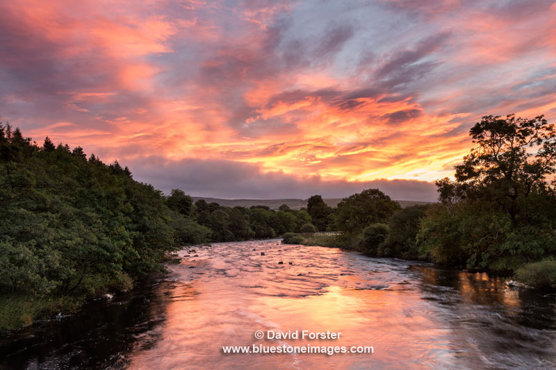 Sunrise Over the River Tees at Holwick Head on the Pennine Way Long Distance Trail, Upper Teesdale, County Durham UK