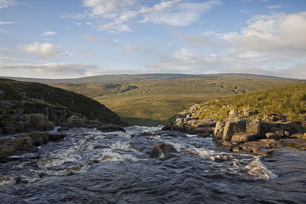 05D-4459 The River Tees and Mickle Fell From the Top of Cauldron Snout Upper Teesdale County Durham UK.