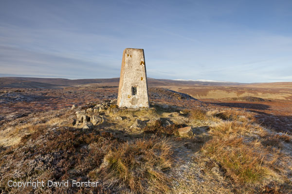 05D-8376 The Summit Trig Point on Cronkley Fell With the High Pennine Mountains of Cross Fell and the Dun Fells Behind Upper Teesdale County Durham England UK