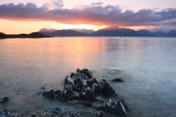 06-0684 The Cuillin Mountains at Sunset From Ob Gauscavaig Bay Isle of Skye Scotland