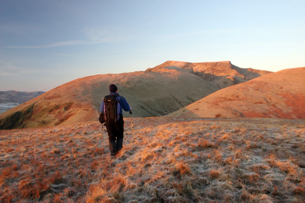 06-1539 Hill Walker and Blencathra at Dawn, Lake District, Cumbria