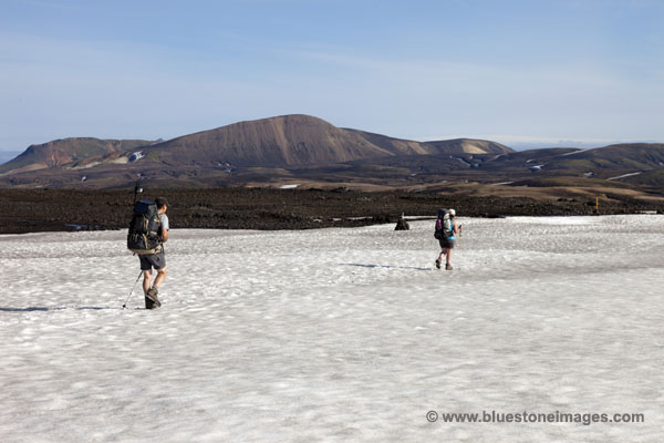 06D-1194 temp Crossing the Snowfields of Sooull just after leaving the hut Iceland