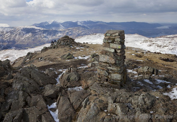 06D-3770 The Summit Trig Point of High Seat and the View North West Towards Grisdale Pike Lake District Cumbria UK.