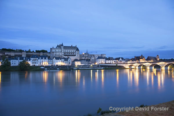 06D-8082 The Chateau and Lights of the Village Amboise Across the Loire River at Night, Indre et Loire Region of France