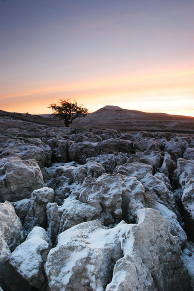 07-0781 Karst Landscape and Ingleborough Hill in Dawn Winter Light from Scales Moor. North Yorkshire