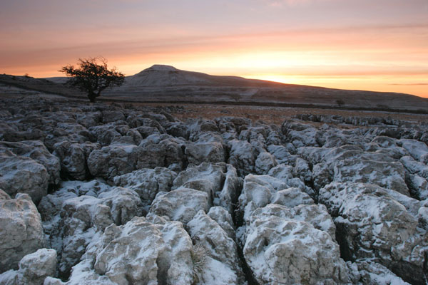 07-0792 Karst Landscape and Ingleborough Hill in Dawn Winter Light from Scales Moor. North Yorkshire