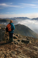 07-1093 Hill Walker Enjoying the View Over Whiteless Edge from Grasmoor, Lake District, Cumbria