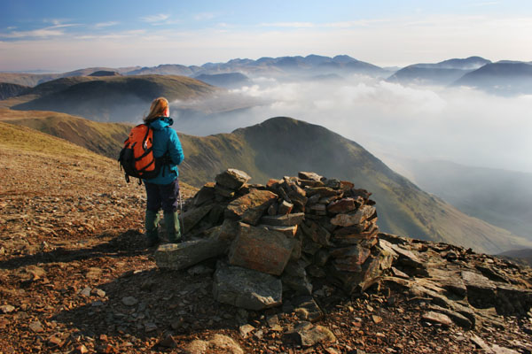 07-1103 Hill Walker Enjoying the View Over Whiteless Edge from Grasmoor, Lake District, Cumbria