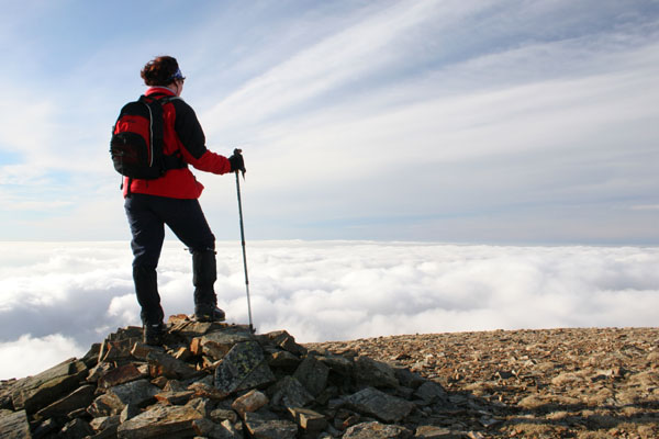 07-1119 Walker Above the Clouds on Grasmoor, Lake District, Cumbria