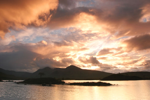 07-2475 Sunset Over the Black Mount and Lochan na h-Achlaise, Rannoch Moor, Scotland