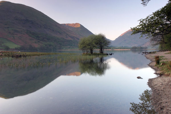 07-9655 Brotherswater and The View South With the First Rays of the Sun Reaching The Crags of Caudale Head Lake District Cumbria