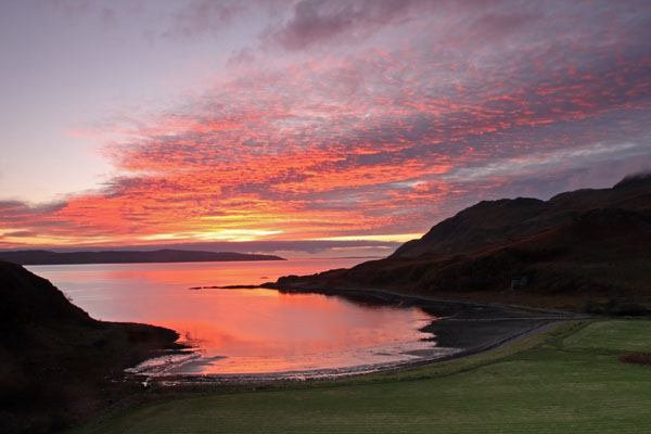 09-8029 Sunset Over Southern Coastline of the Ardnamurchan Peninsular from the Bay of Camas nan Geall Scotland