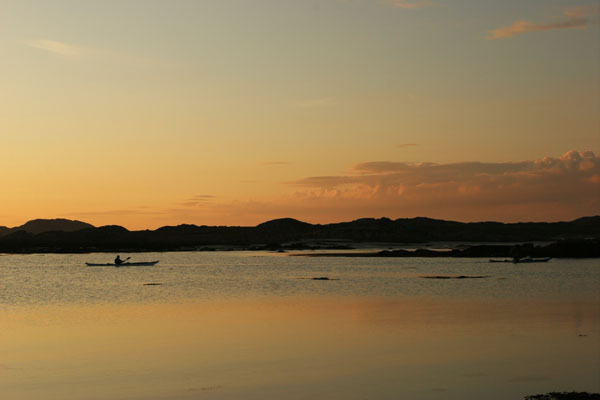 07-1906 Canoeist at Sunset, in the Sound of Iona, Taken from the Isle of Mull