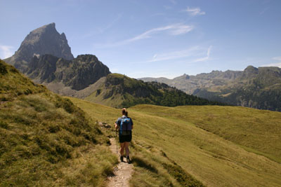 D2-42 Walker and the Mountain, Pic du Midi D'Ossau, French Pyrenees.