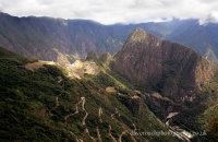 The narrow winding road up to Machu Picchu