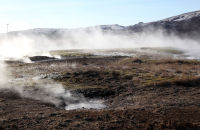 (1) Hot water springs in the Geothermal Park at Geysir.