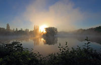 (2) Mist rising off the lake