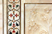 Semi-precious stones inlaid into the walls of the Taj