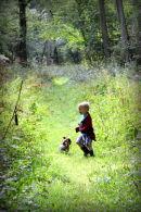 Boy & Dog in woods