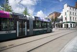 A Nottingham Tram leaving Market Square