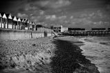 Southwold huts and pier - monochrome