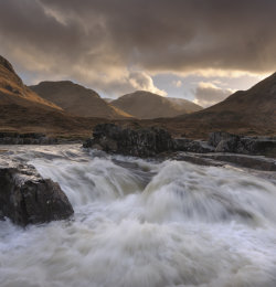 Glen Etive in full Winter spate