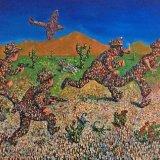 Tintin chase scene through the Arizona Desert(commission) / Oil on Panel 220 x110 cm