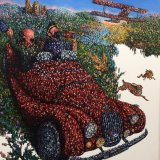 Highland Tintin with Morgan Sports car/ Commission/ oil on card 80 x 90cm