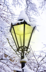 Ornate street lamp covered snow
