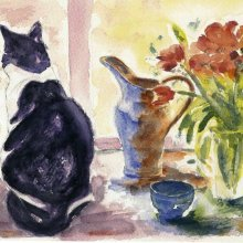 Black & White Cat with Tulips