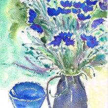 Cornflowers and Blue Bowl