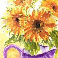 Sunflowers in Purple Jug