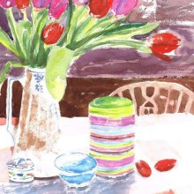 Still Life with Red and Pink Tulips