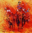 "High Noon at Jaipur part#1 Elephant polo  22""x22"""