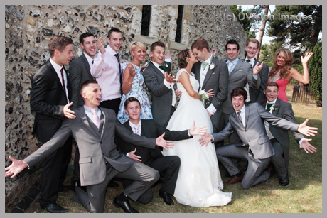 Newlyweds with friends