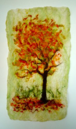 Wool Felted Abstract Wall Hanging Sale Rainbow Family